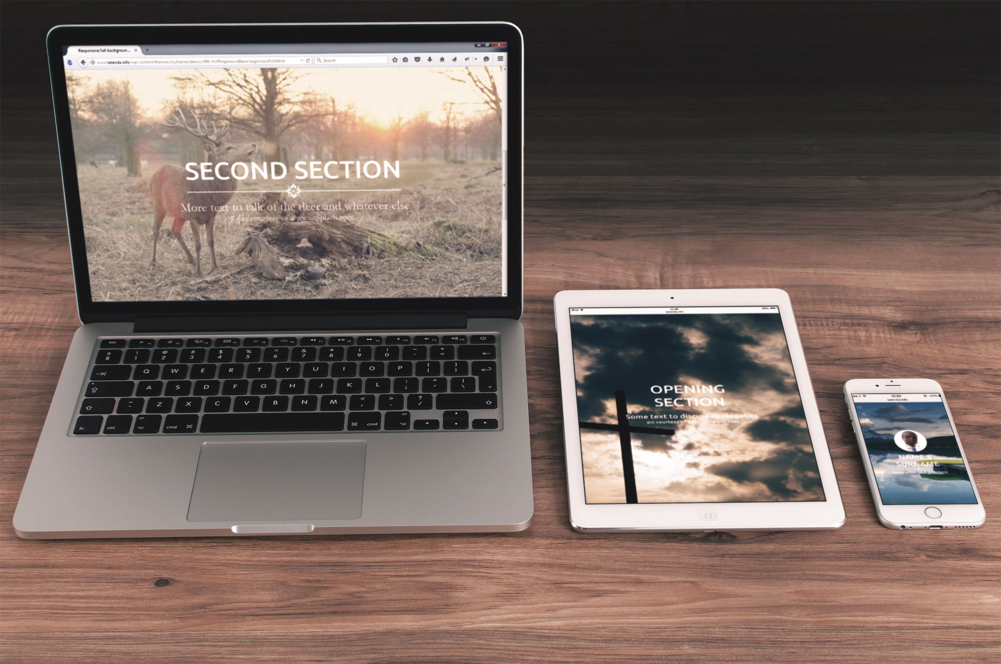 Full background images with responsive centred elements | TC